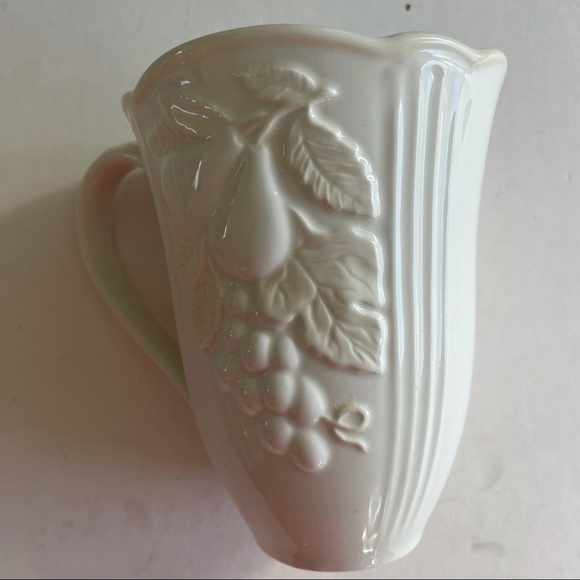 """Lenox Porcelain Embossed Floral Cup 5"""" tall white"""
